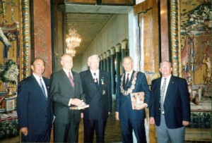 Stockholm, 16 June 2002 (from left): United States Ambassador to Sweden Charles A. Heimbold, Swedish National Heritage Board Acting Chief of Staff Hans Ling, Swedish Colonial Society Governor Herbert R. Rambo, Stockholm Lord Mayor Axel Wennerholm, and Swedish Colonial Society Councillor James D. Seagers (photo: Doriney Seagers).